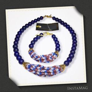 TRIBAL AFRICAN BEADS Necklace & Bracelet Set